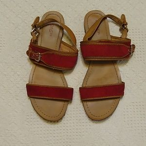 Coach leather sandals size 9.5 red tan brown gold